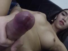 Teasing Thai Ladyboy Wanking Off