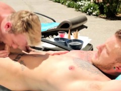 Muscular Ginger Hunk Assfucked Poolside