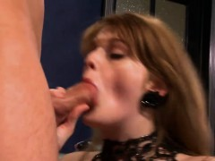 Gorgeous ginger slut has her twat rammed
