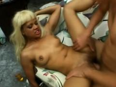 Blonde ebony sucks his white dick a puts her bald twat down on it