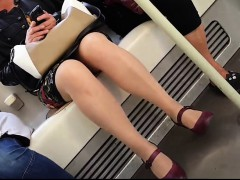 Irresistible Young Woman Gets Her Curvy Legs Caught On Hidd