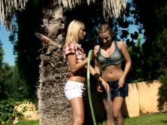 Seduced Gardener Featuring Lena And Morgan Splash Each