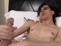 Skinny Spex Femboy Solo Jerking Her Big Cock