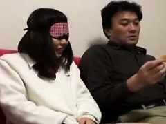 Blindfolded Girl Has A Kinky Guy Shoving His Fat Dick Down