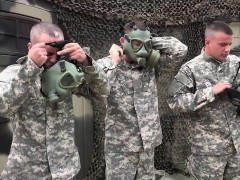 Military Hunks In Gas Masks Fuck And Suck