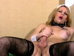 Shemale Bunny In Black Stockings Masturbates Her Big Shaft