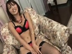 Busty Asian Cutie In Stockings Invites A Horny Boy To Devou