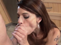 cougar mama blows young penis in the kitchen