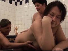 Three Lesbians Grannies In In The Bathroom