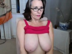 old woman shows her monster shaggy tits