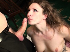 Sub Babe Gags While Throated With Hard Cock