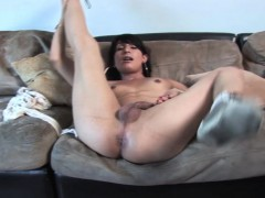 Casting Tgirl Beauty Sucking And Jerking Cock