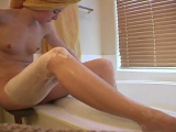 Teenager woman gets completed with bath and begins shaving