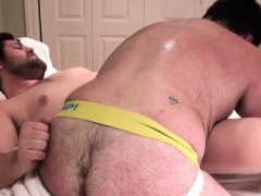 Hefty Bear Ass Toyed Before Riding Cock Ontop