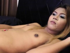 Ladyboy Strips Before Wanking Dick On Bed