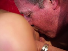 fat old man penetrated beautiful young slut girl blowjob jizz