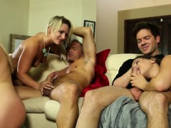 Heeled Babes Cockriding In Orgy