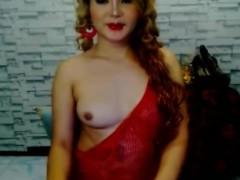 Horny Shemale Masturbate Her Hard Cock