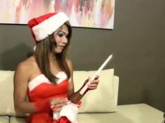 Erotic Santa Ladyboy Lets Her Cock Hang Loosely From Panties