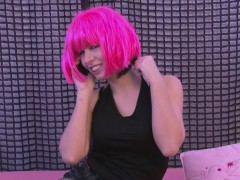 Neon Pink haired Beauty Rubs Her Wet Pussy