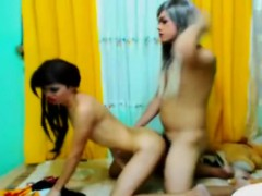 Horny Shemale Duo Sucking And Fucking Action
