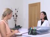 Asian babe licks Euro female agent