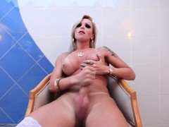 stockinged-shemale-tugging-cock-in-lingerie