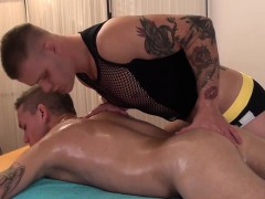 Twink Amateur Massaged By A Tattooed Hunk
