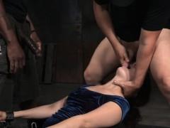 Restrained Sub Deepthroating In Bdsm Threeway