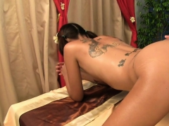 Thai Teen Kanda Has Her Tiny Hole Plugged On Massage Table