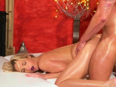Massage Rooms Blonde Babe Gets Fucked And Creampied