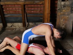 Twink Joel Vargas Sucks Dom Ully's Cock After Wrestling Duel