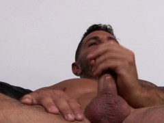 Inked Homosexual Jordan Strokes His Massive Boner And Cums
