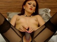 redhead-bitch-on-webcam-stabs-dildo-in-her-horny-wet-pussy