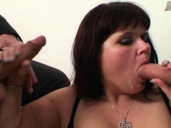 Her fat old pussy gets double-nailed