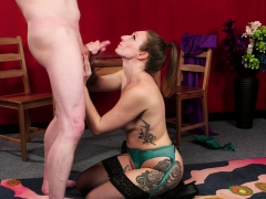 Inked British Babe In Stockings Jerking Cock