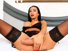 Big Tits Latin Tranny Jerks Off Her Dick Until She Cums