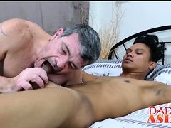 Asian Twink Mikal Wanks His Cock And Bangs With Daddy