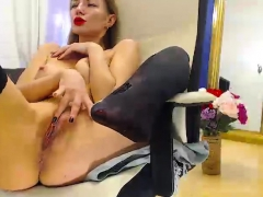 Blonde Babe Ass Dildoing And Pussy Fingering On Webcam