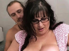 Plump Chick Rides Stranger's Dick In The Restroom