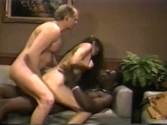 Vintage Interracial Threesome With Double Penetration