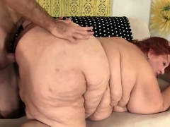 huge bbw has a dick stuffed in her cakehole and cunt