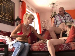 Old mother and dad seduce her into sex