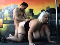 Huge Boobs Blonde Gives Head And Doggy-fucked