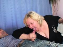 Huge grandma riding and sucking at same time