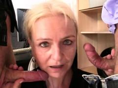 Two Guys Seduce Blonde Mature Woman
