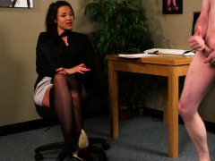 Dominant Office Britt Instructing Jerkoff