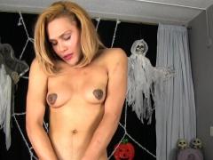 Ebony Transsexual Jerks In Halloween Costume