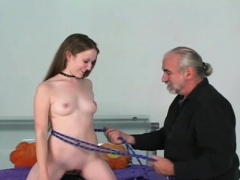 Bare Woman Screams With Chap Roughly Playing With Her Vag