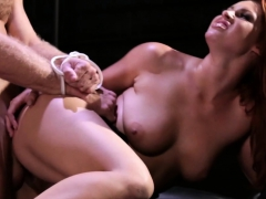 Busty domina cockriding bound sub